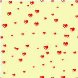Hearts drawn with a brush.Print with hearts, Stock Image