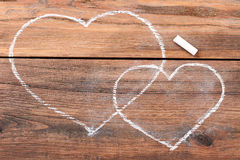 Hearts drawn with chalk. Stock Photography