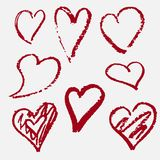 Hearts drawn by hand. Red. Decor royalty free illustration