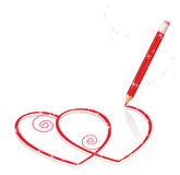 Hearts Drawn by pencil Stock Image