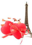 Hearts and Eiffel tower Stock Photo