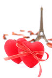 Hearts and Eiffel tower Stock Images