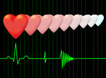 Hearts and the electrocardiogram. Vector. Stock Photos