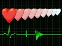 Hearts and the electrocardiogram. Vector. Stock Photos