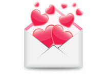 Hearts in email  illustration Stock Photo