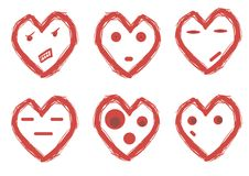Hearts with emotions Royalty Free Stock Photos