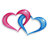 Hearts entwined. Pink and blue hearts entwined on white background Royalty Free Stock Photos