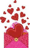 Hearts in the envelope Royalty Free Stock Image