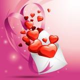 Hearts in Envelope Stock Photos