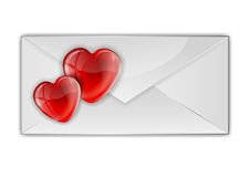 Hearts on the envelope Royalty Free Stock Photography