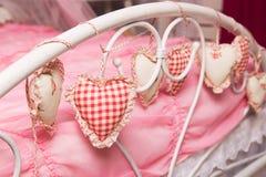 Hearts of fabric Stock Photo