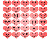 Hearts with facial expressions Royalty Free Stock Image