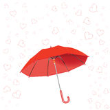 Hearts fall. And umbrella against white background, abstract vector art illustration Stock Photography