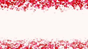 Hearts fall from top and to bottom. Red pink hearts love animation. empty space in middle. Concept template for greeting. With Valentines Day or Mothers Day. CG stock footage
