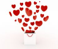 Hearts falling as gifts in a bag supermarket. The concept of a gift with love Stock Photography