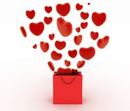 Hearts falling as gifts in a bag supermarket. The concept of a gift with love Royalty Free Stock Photo