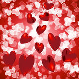 Hearts Falling With Bokeh Background Royalty Free Stock Images