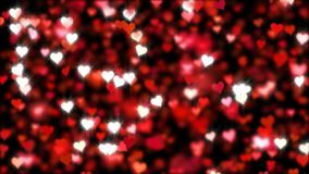 Hearts falling, glitter, animation, background. Loop. stock footage