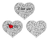 Hearts from famous woman's names with title. Valentines day. () Stock Images