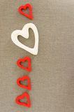 Hearts from felt. Gray background stock images