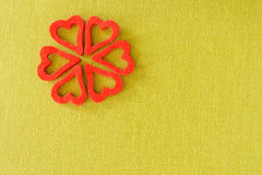 Hearts from felt. Green background stock photography