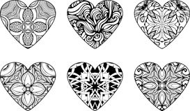 Hearts filled with floral patterns. Set of six hearts filled with floral patterns Stock Images