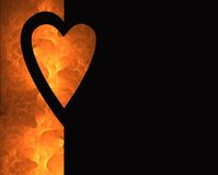 Hearts and Fire 2. A valentine image with a black heart outline filled with flames Royalty Free Stock Photo