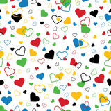 Hearts of five colors. Seamless ornament or backgr Royalty Free Stock Photography