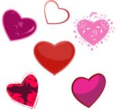 The hearts, five variants Stock Photo