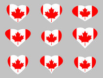 Hearts with the flag of Canada. I love the Canada. Canada flag icon set. Vector Royalty Free Stock Image