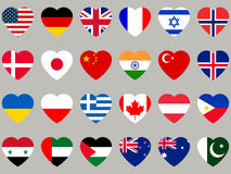 Hearts with flag. Flag icons set. Vector Stock Images