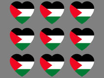 Hearts with the flag of Palestine. I love the Palestine. Palestine flag icon set. Vector Royalty Free Stock Image