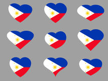 Hearts with the flag of Philippines. I love the Philippines. Philippines flag icon set.  Stock Photography