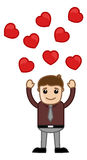 Hearts Floating Over a Man Vector Royalty Free Stock Photo