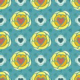 Hearts floral abstract seamless pattern Stock Images