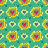 Hearts floral abstract seamless pattern royalty free illustration