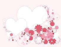 Hearts and floral border Stock Photography