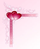 Hearts on floral corner frame Stock Image