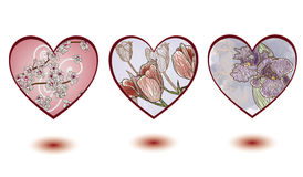 Hearts with floral decorations Stock Photo
