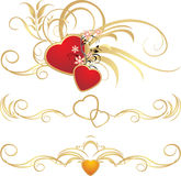 Hearts with floral ornament. Pattern for frames. Vector illustration Royalty Free Stock Photos