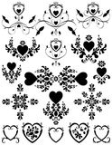 Hearts Floral Scroll Set Stock Images