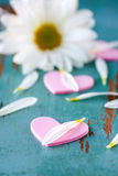 Hearts and flower petals Stock Photography