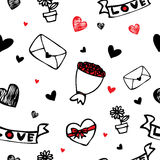 Hearts and flower symbol cartoon seamless background Royalty Free Stock Photography