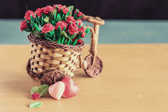 Hearts and flowerpot with vintage style. Two hearts and flowerpot with vintage style royalty free stock photos