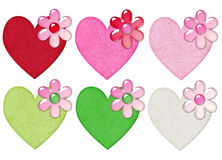 Hearts with Flowers Stock Images