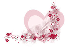 Hearts And Flowers. Pink and red hearts and flowers on white; computer illustration Stock Image