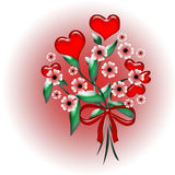 Hearts and flowers Stock Images