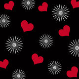 Hearts and flowers. Pattern on black background vector illustration