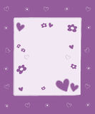Hearts and flowers. Frame with blank space Stock Photo