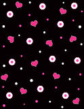 Hearts and flowers. Pink hearts and flowers on black background vector illustration
